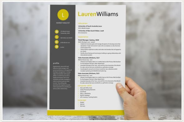 Citrus modern cv template with yellow and black shade