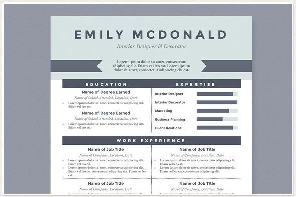 Sea Blue Best Resume Template Package – For Microsoft Word