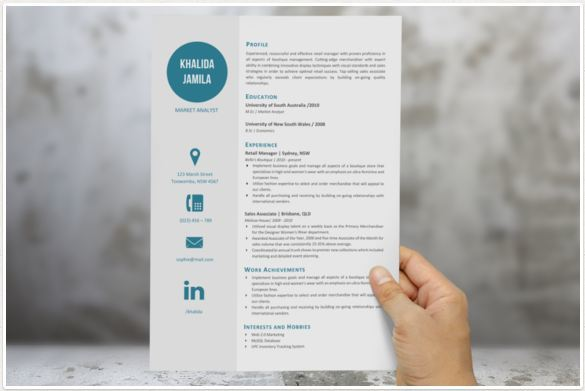professional resume template with modern look white and blue