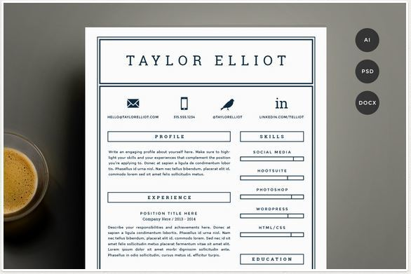 one color simple resume template with social icons for word