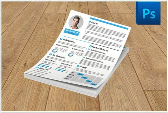 modern simple job resume template with colored format by sismic design
