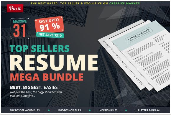 modern top sellers cv resume docx mega bundle