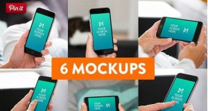 4 6-Pack iPhone 6 Mockup psd templates