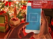Christmas hand iphone mockup