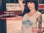 Vintage white tank top mockup templates