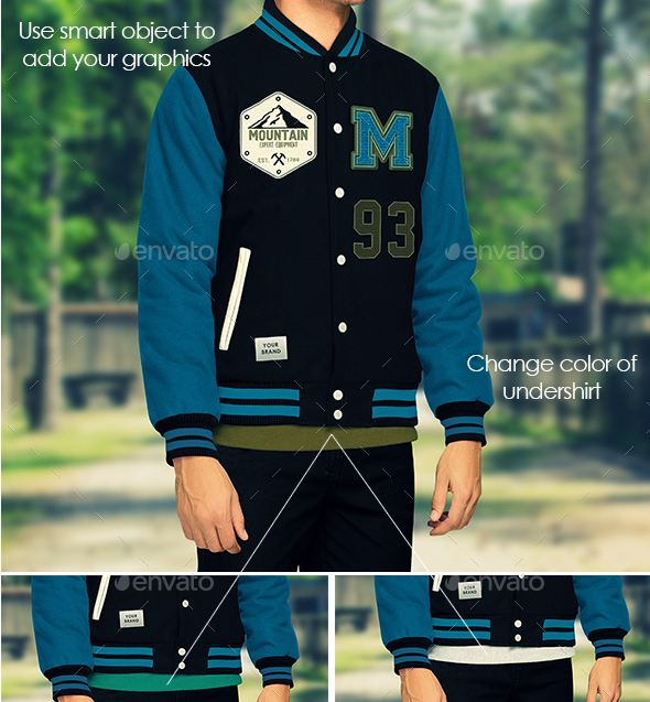 Jacket Mockup, Varsity and Bomber Jacket Templates psd