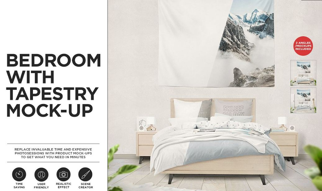 Bedroom with Tapestry Mockups Set