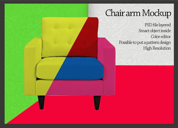 Chair arm furniture Mockup