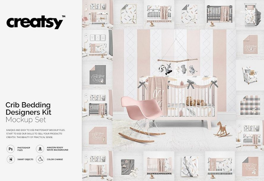Crib Bedding Designers Kit Mockup furniture template