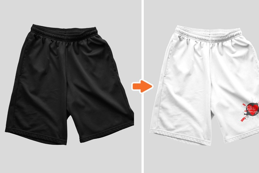 Basketball shorts template and other shorts mockup pack