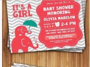 Boy & girl elephant baby shower invitations
