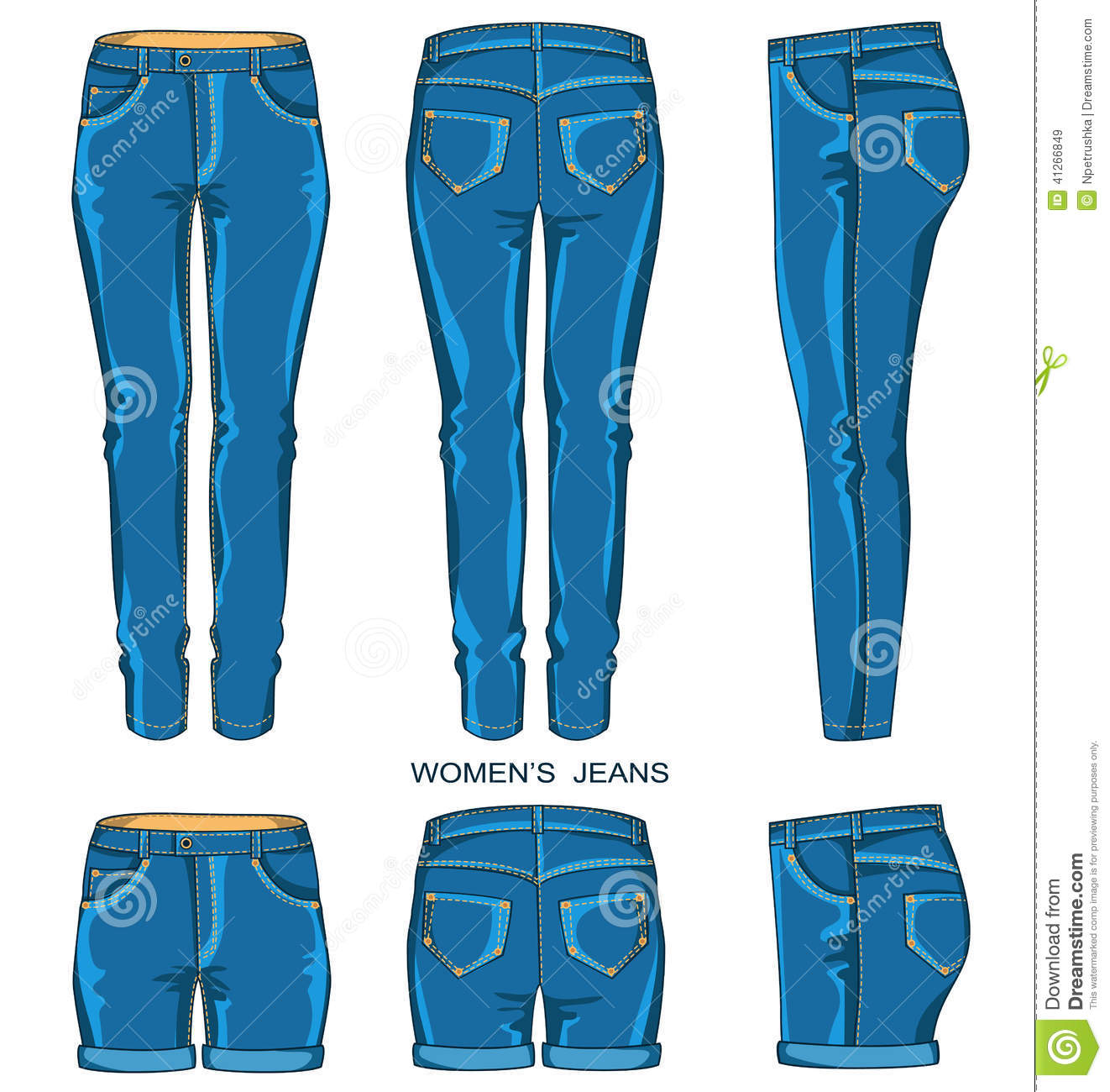 Free Download Women jeans shorts isolated Vector