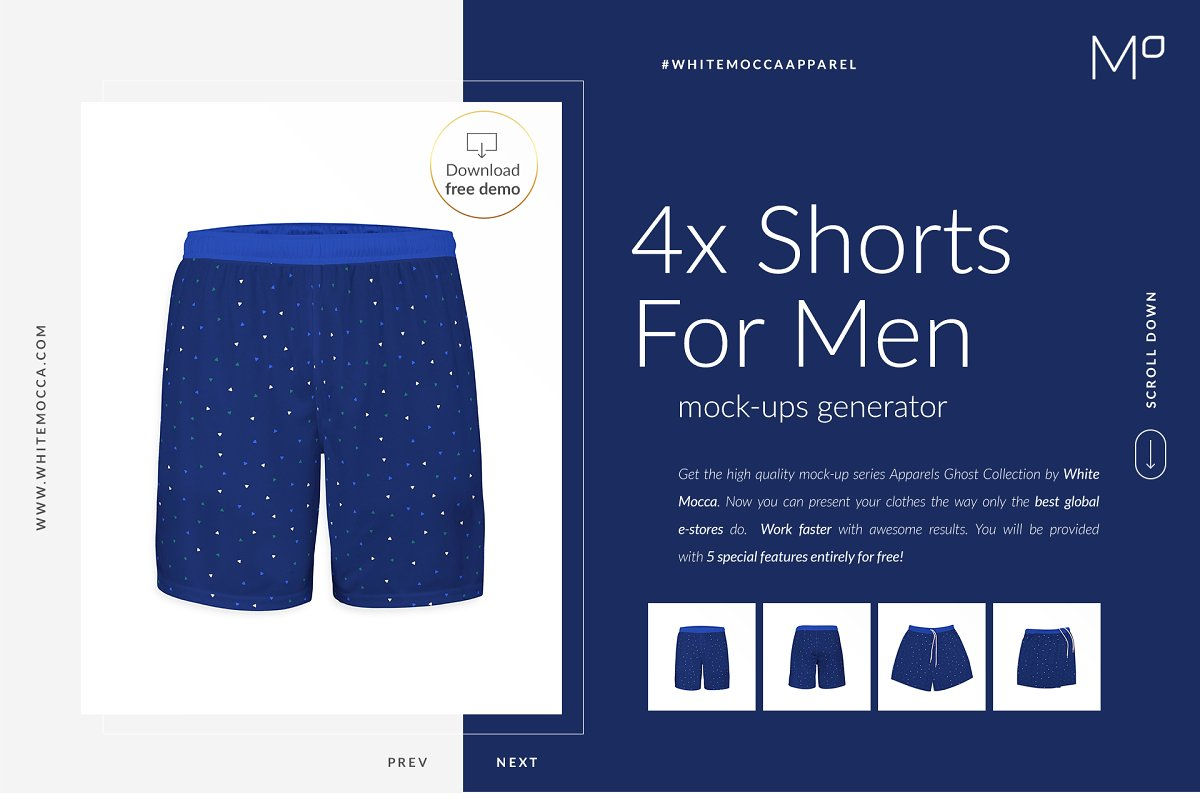 Men Shorts Ghost Mockups with Free Demo
