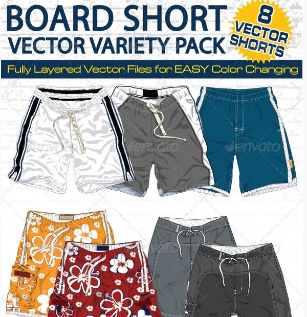 Mens Board Shorts Vector Flats MockUps