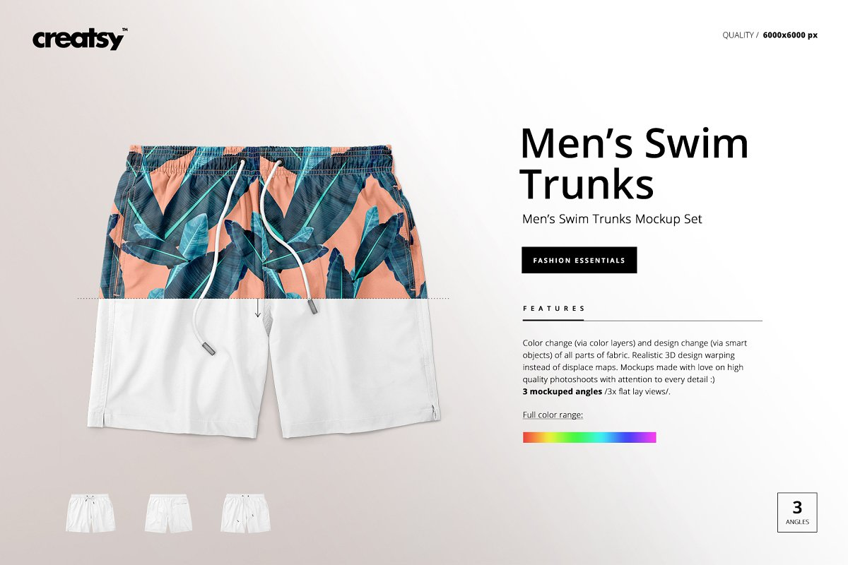 Men's Swim Trunks Mockup Set