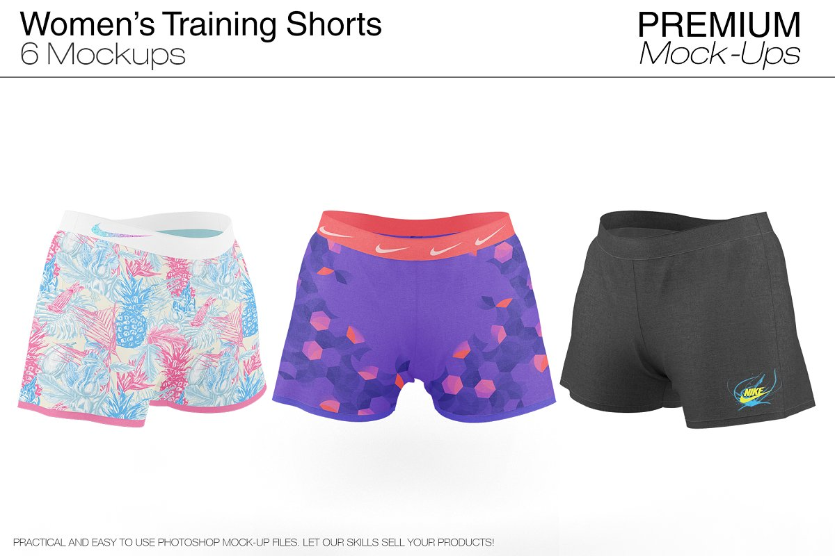 Women's Training Shorts Template for Photoshop