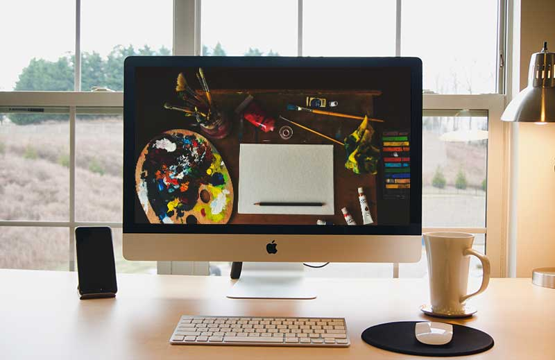 free iMac mockup in workspace psd template Vol 1 2 2