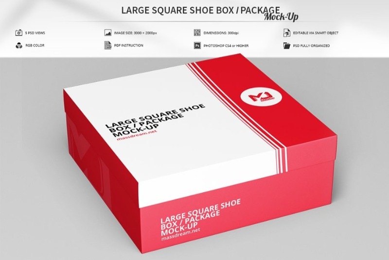 Large Square Shoe Box Mockup with 5 Views