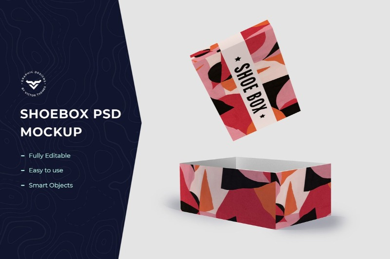Mockup Shoe Box Template with Flying Cover Scene