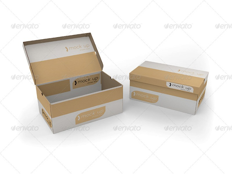 PSD Shoe Box Mockup for Photoshop
