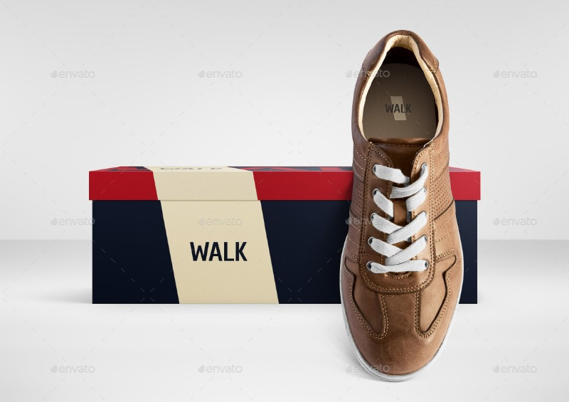 Shoe Box Mockup with Footwear Scene