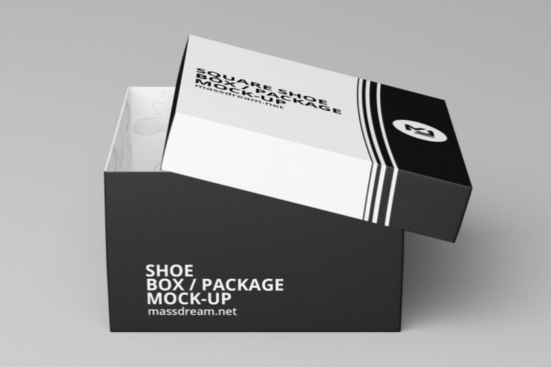 Square Shoe Box MockUp (Free)