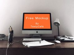 iMac mockup template on workspace Vol. 5 1
