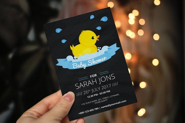 Chalkboard Rubber Duck Shower Invite