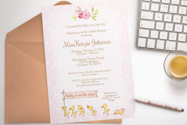 Duck Baby Shower invitation template 1
