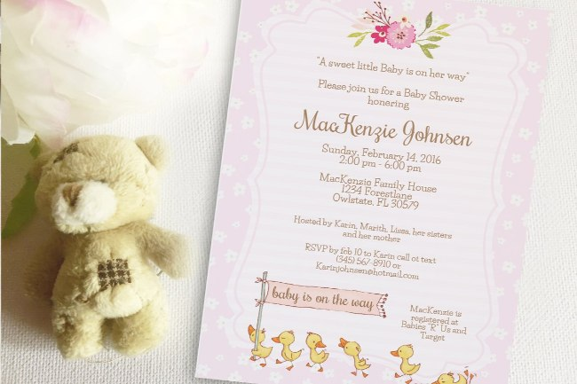 Duck Baby Shower invitation template 2