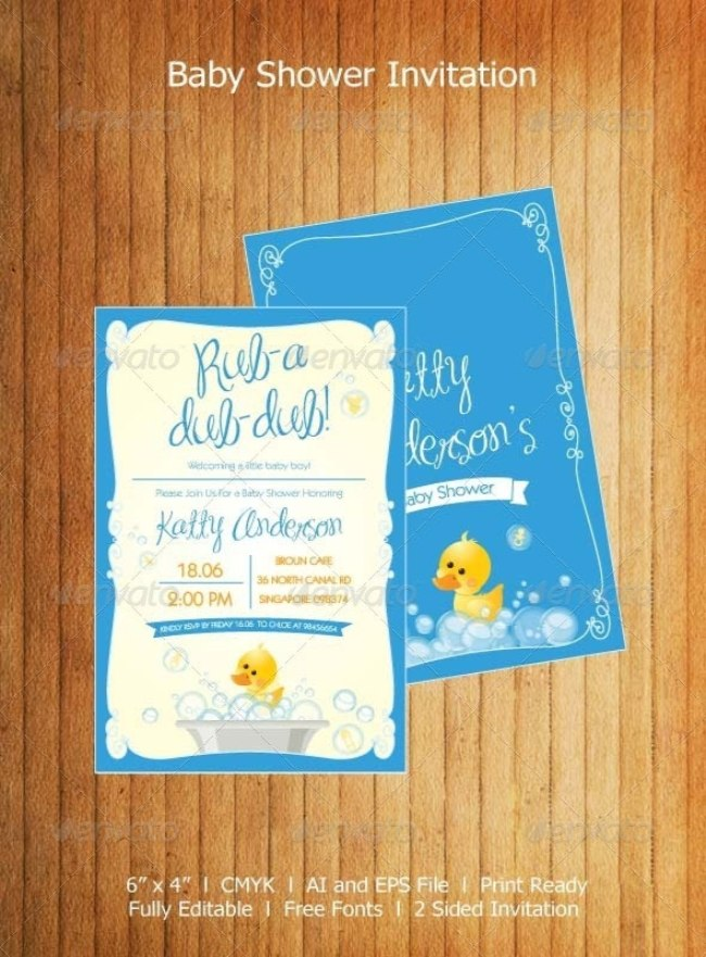 Duck themed Baby Shower Invitation