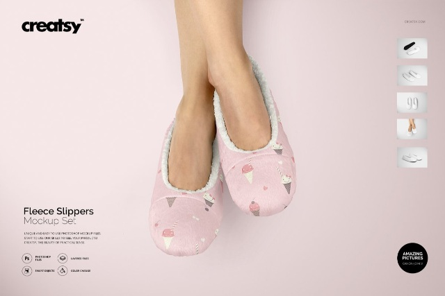 Fleece Slippers Mockup Set