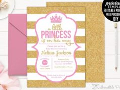 Gold and Pink Princess Baby Shower Invite