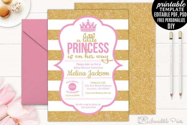 6 Printable princess baby shower invitations templates