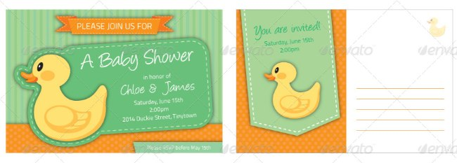 Rubber Ducky Baby Shower Invitation Template 2