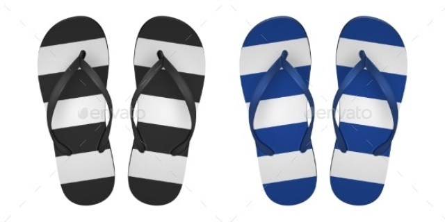 Vector Realistic Striped Flip Flop Set Closeup by Gomolach